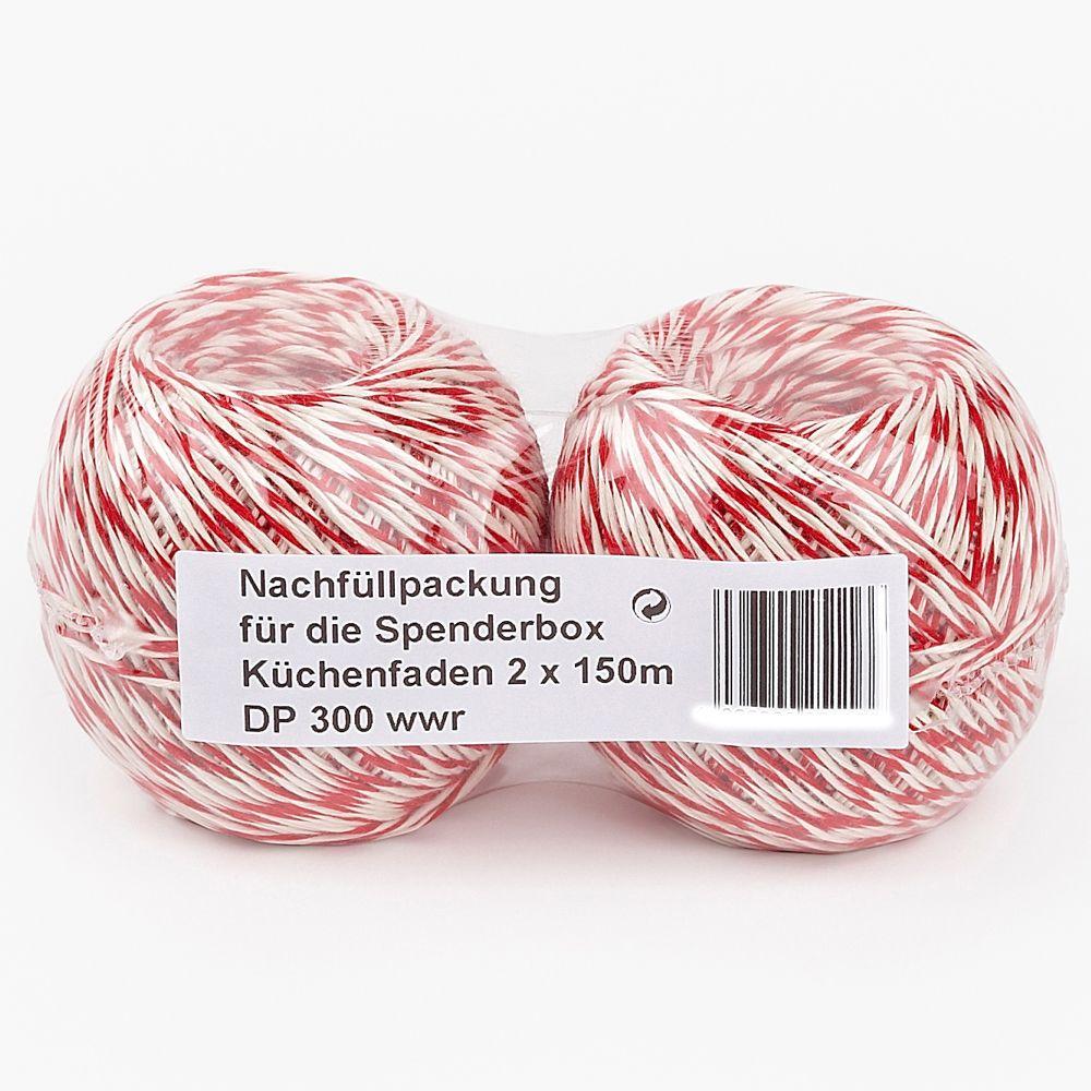 Küchengarn rot/weiß 2x150 m | Rollen